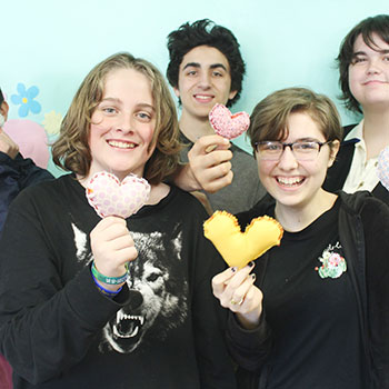 groups of teens at neo with hearts
