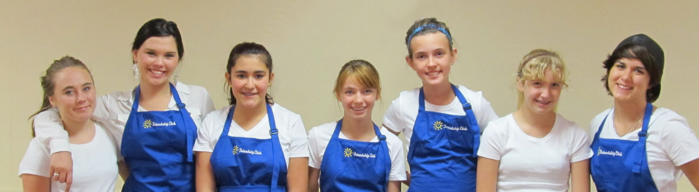 friendship club girls in kitchen